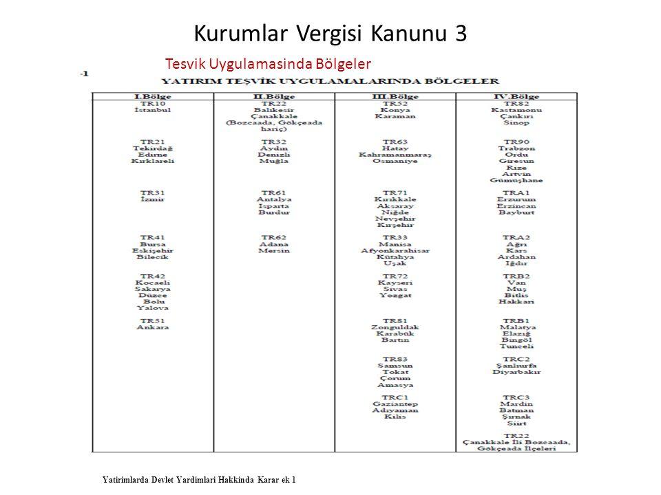 Kurumlar Vergisi Kanunu 3 Tesvik Uygulamasinda Bölgeler Yatirimlarda Devlet Yardimlari Hakkinda Karar ek 1