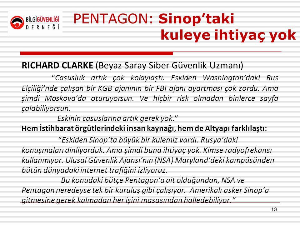 """PENTAGON: Sinop'taki kuleye ihtiyaç yok RICHARD CLARKE (Beyaz Saray Siber Güvenlik Uzmanı) """"Casusluk artık çok kolaylaştı. Eskiden Washington'daki Rus"""