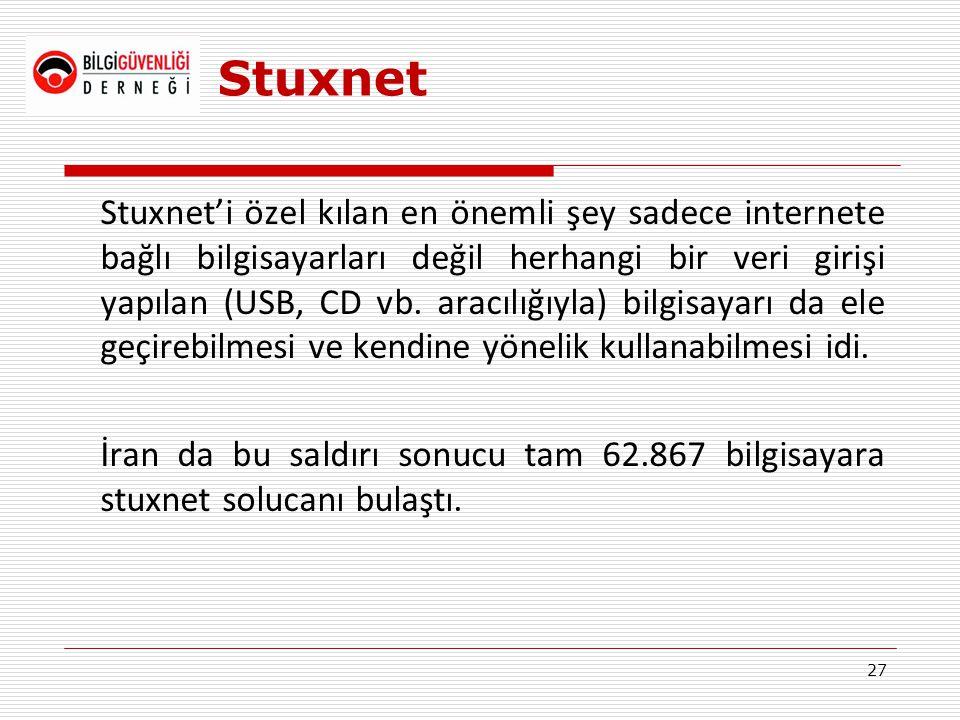 Stuxnet Stuxnet'i özel kılan en önemli şey sadece internete bağlı bilgisayarları değil herhangi bir veri girişi yapılan (USB, CD vb. aracılığıyla) bil
