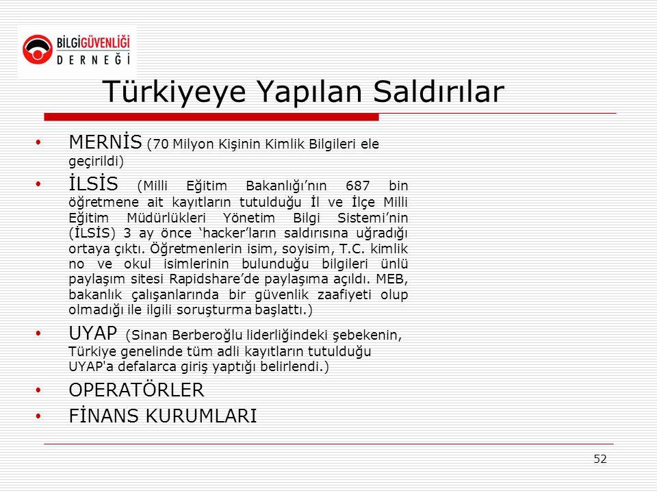Türkiyeye Yapılan Saldırılar • MERNİS (70 Milyon Kişinin Kimlik Bilgileri ele geçirildi) • İLSİS (Milli Eğitim Bakanlığı'nın 687 bin öğretmene ait kay