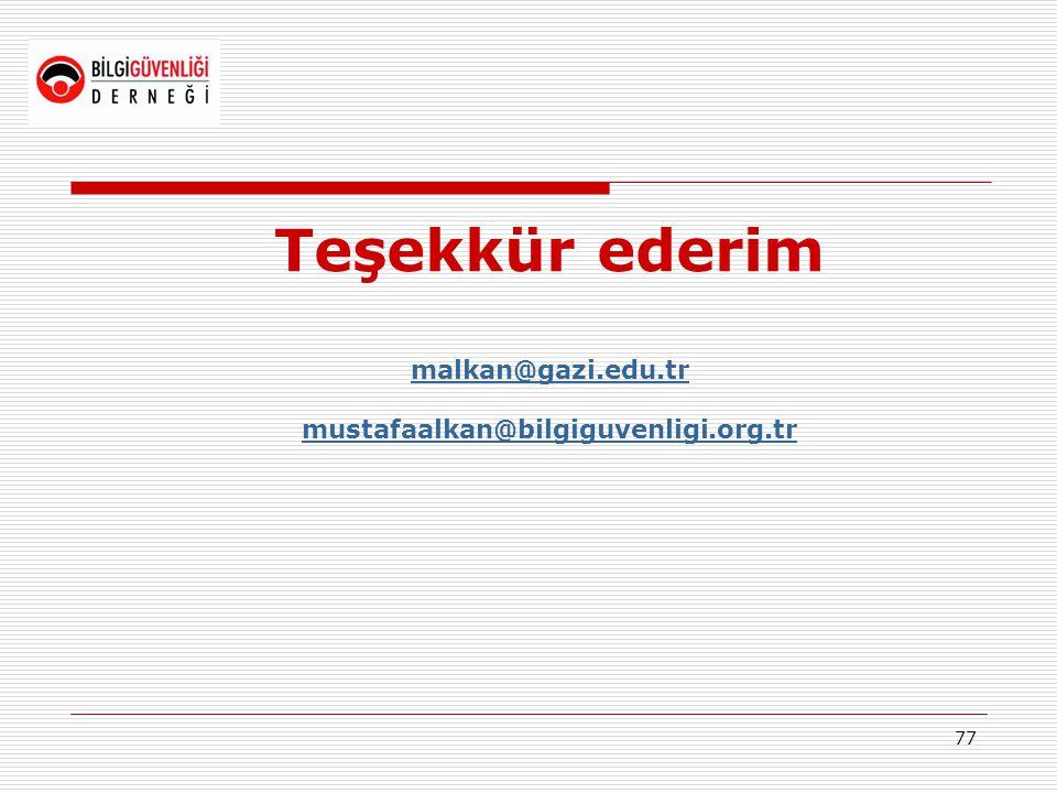 77 Teşekkür ederim malkan@gazi.edu.tr mustafaalkan@bilgiguvenligi.org.tr