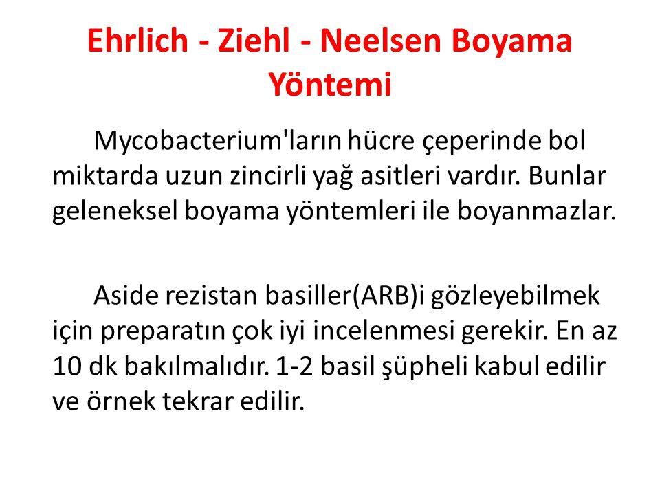 Ehrlich - Ziehl - Neelsen Boyama Yöntemi Mycobacterium ların hücre çeperinde bol miktarda uzun zincirli yağ asitleri vardır.