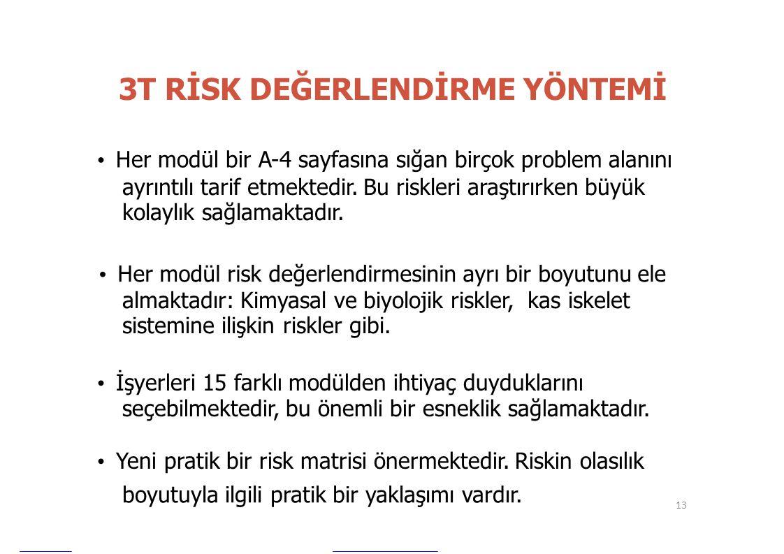 3T RİSK DEĞERLENDİRME YÖNTEMİ • Her modül bir A-4 sayfasına sığan birçok problem alanını ayrıntılı tarif etmektedir. Bu riskleri araştırırken büyük ko