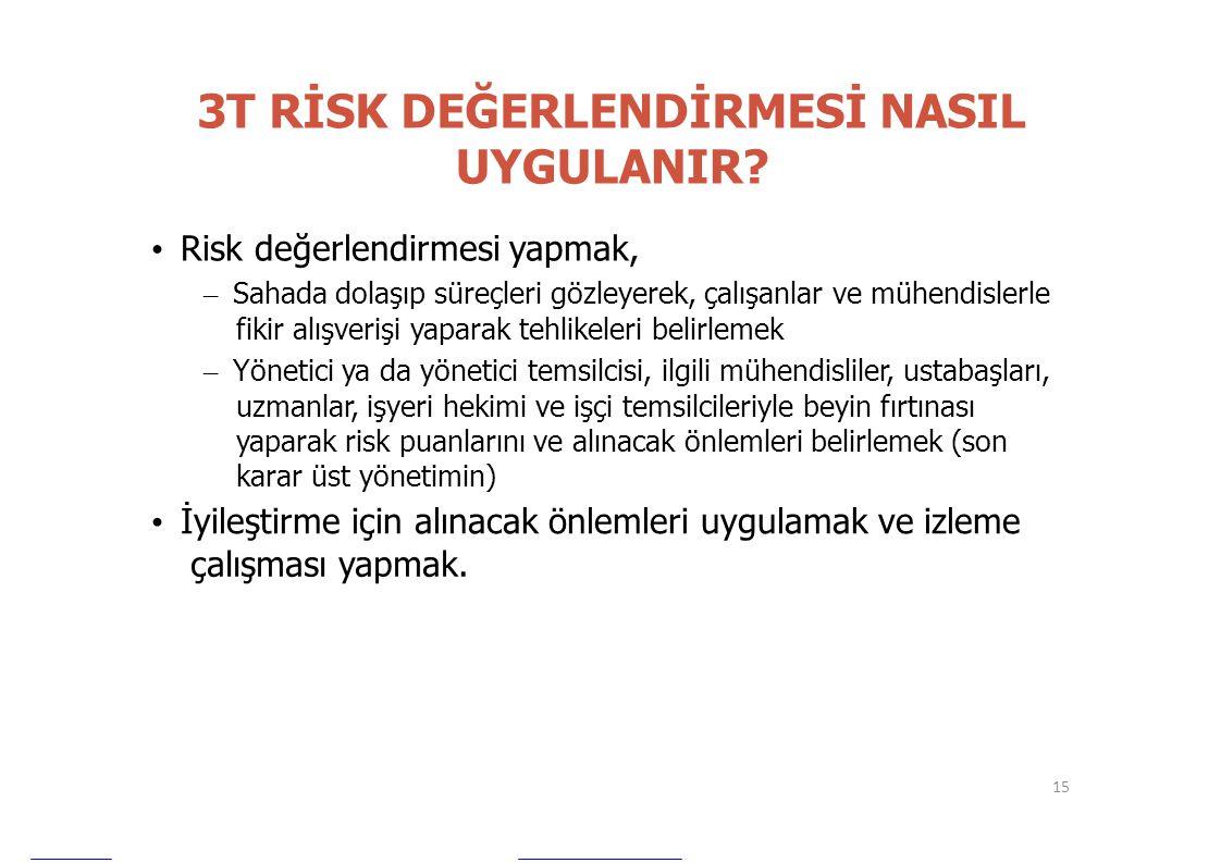 3T RİSK DEĞERLENDİRMESİ NASIL UYGULANIR? • Risk değerlendirmesi yapmak, – Sahada dolaşıp süreçleri gözleyerek, çalışanlar ve mühendislerle fikir alışv
