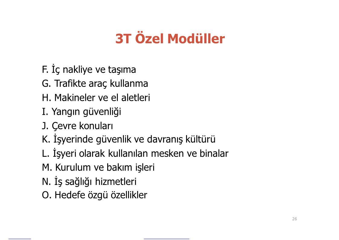 3T Özel Modüller F. İç nakliye ve taşıma G. Trafikte araç kullanma H. Makineler ve el aletleri I. Yangın güvenliği J. Çevre konuları K. İşyerinde güve