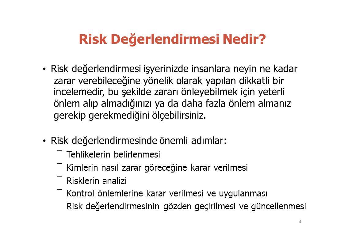 – – – – – Risk Değerlendirmesi Nedir? • Risk değerlendirmesi işyerinizde insanlara neyin ne kadar zarar verebileceğine yönelik olarak yapılan dikkatli