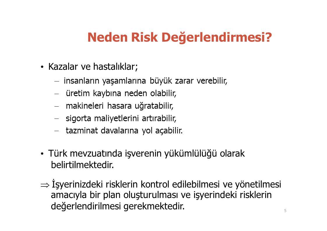 – – – – Neden Risk Değerlendirmesi? • Kazalar ve hastalıklar; – insanların yaşamlarına büyük zarar verebilir, üretim kaybına neden olabilir, makineler