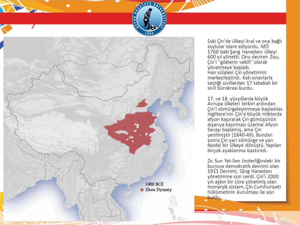 Eski Çin'de ülkeyi kral ve ona bağlı soylular idare ediyordu. MÖ 1766'daki Şang Hanedanı ülkeyi 600 yıl yönetti. Onu deviren Zou, Çin'i