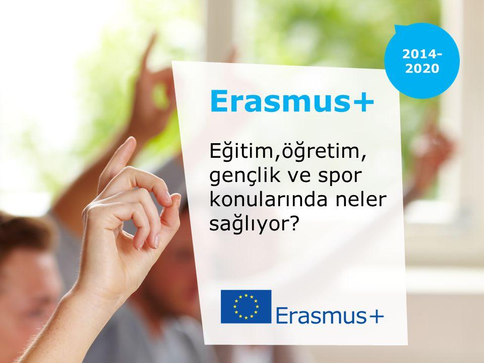 ERASMUS+ HAKKINDA AB'nin 7 farklı eğitim, öğretim ve gençlik programını birleştirmekte ve bu programlara ilk kez sporu da eklemektedir Toplam bütçesi 14,7 milyar avrodur ve bu rakam %40'lık bir bütçe artışını temsil etmektedir
