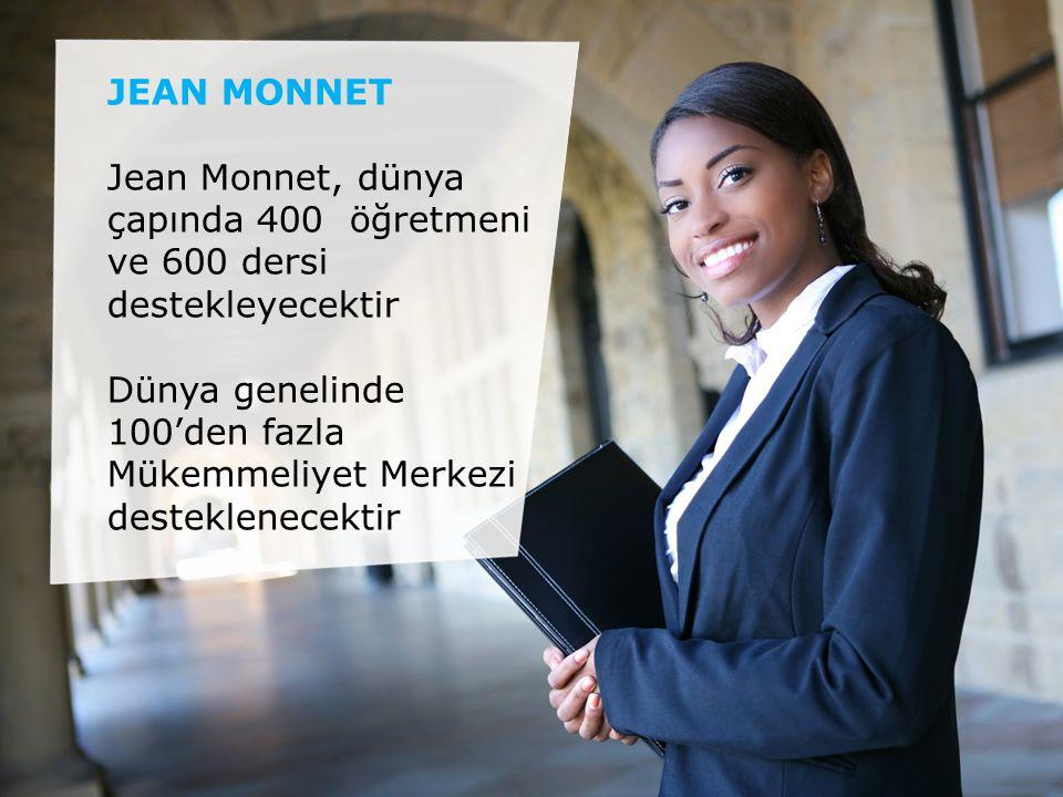 JEAN MONNET Jean Monnet, dünya çapında 400 öğretmeni ve 600 dersi destekleyecektir Dünya genelinde 100'den fazla Mükemmeliyet Merkezi desteklenecektir