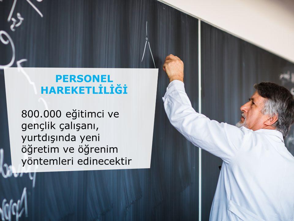PERSONEL HAREKETLİLİĞİ 800.000 eğitimci ve gençlik çalışanı, yurtdışında yeni öğretim ve öğrenim yöntemleri edinecektir