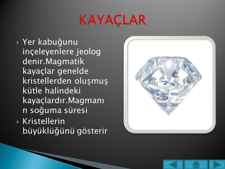  Yer kabuğunu inçeleyenlere jeolog denir.Magmatik kayaçlar genelde kristellerden oluşmuş kütle halindeki kayaçlardır.Magmanı n soğuma süresi  Kriste