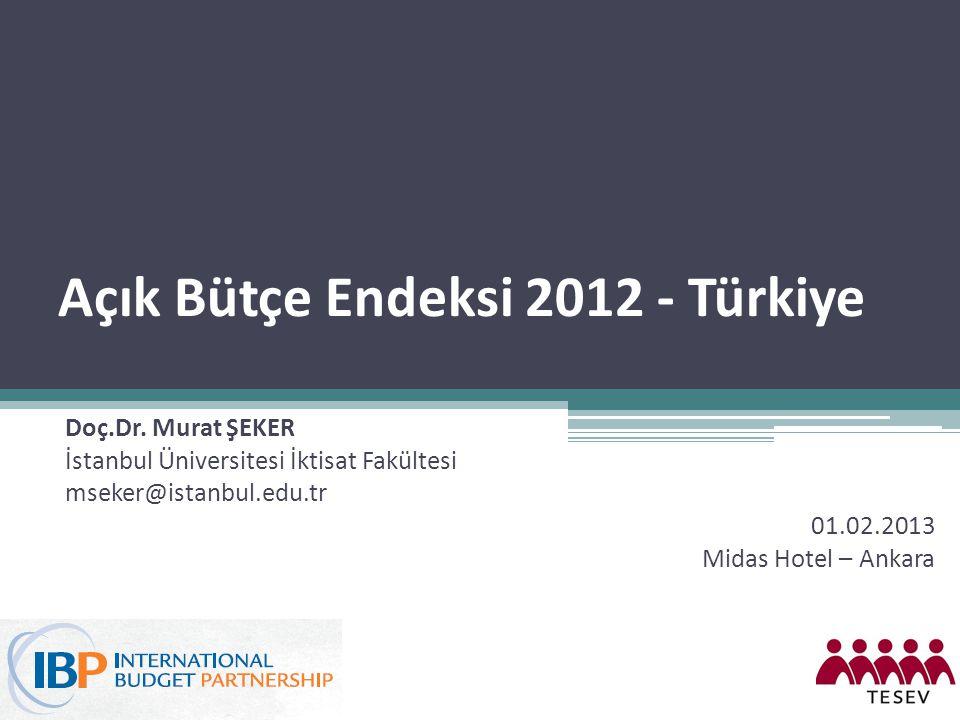 Açık Bütçe Endeksi 2012 - Türkiye Doç.Dr. Murat ŞEKER İstanbul Üniversitesi İktisat Fakültesi mseker@istanbul.edu.tr 01.02.2013 Midas Hotel – Ankara
