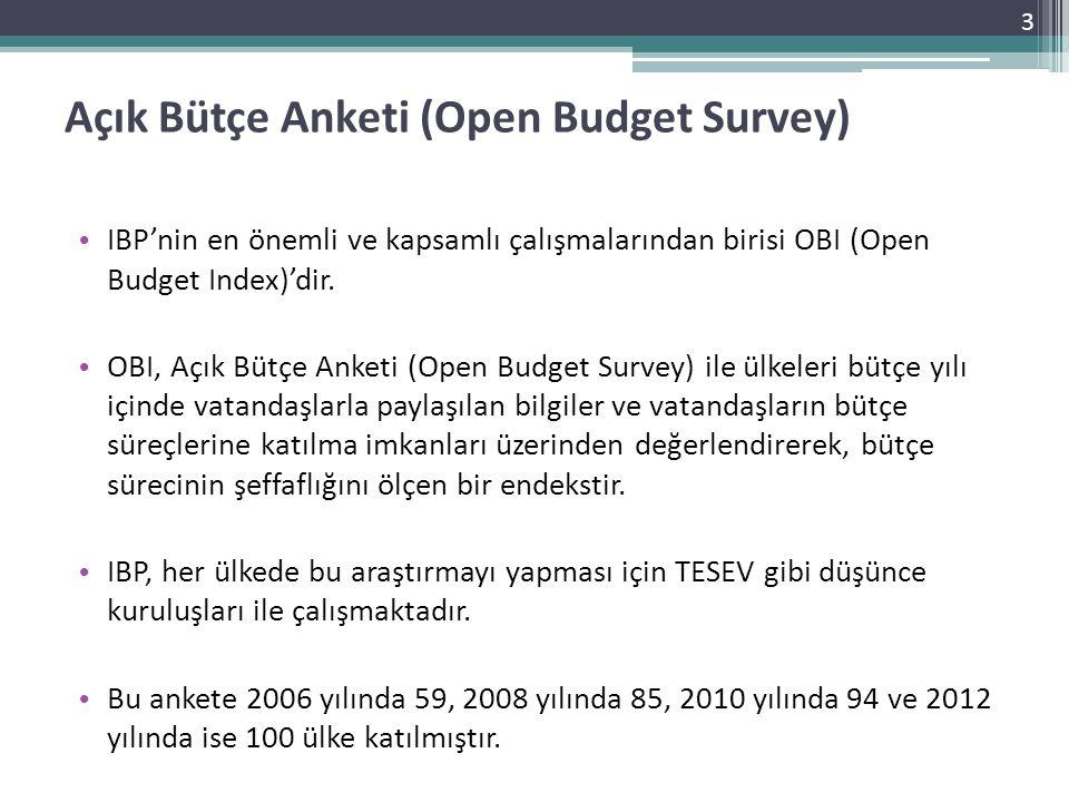 Açık Bütçe Anketi (Open Budget Survey) • IBP'nin en önemli ve kapsamlı çalışmalarından birisi OBI (Open Budget Index)'dir. • OBI, Açık Bütçe Anketi (O