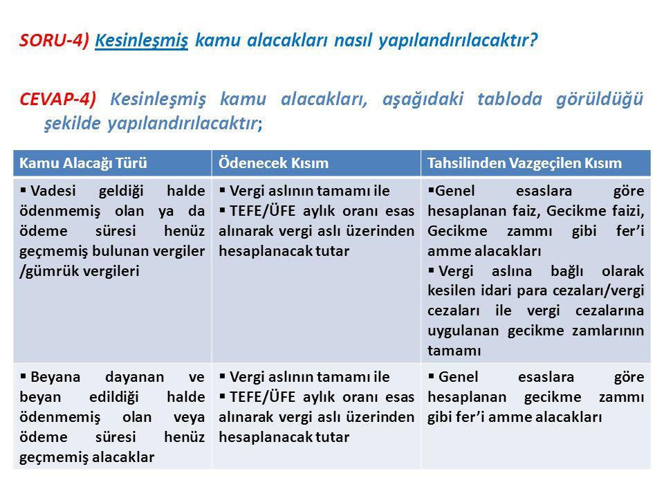 SORU-4) Kesinleşmiş kamu alacakları nasıl yapılandırılacaktır? CEVAP-4) Kesinleşmiş kamu alacakları, aşağıdaki tabloda görüldüğü şekilde yapılandırıla