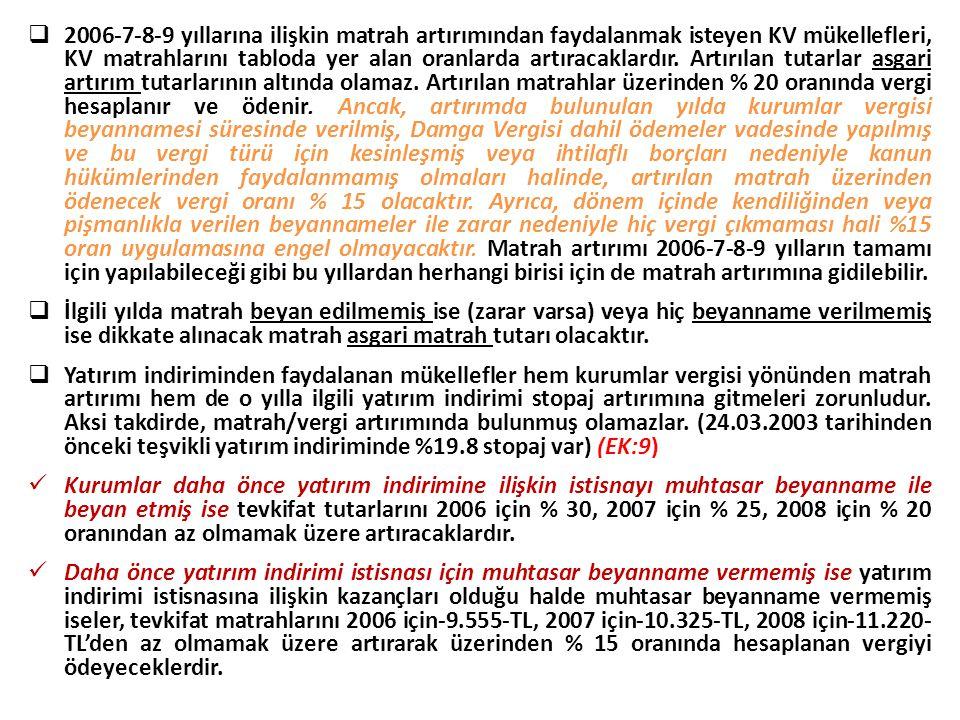 2006-7-8-9 yıllarına ilişkin matrah artırımından faydalanmak isteyen KV mükellefleri, KV matrahlarını tabloda yer alan oranlarda artıracaklardır. Ar