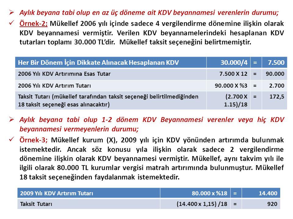  Aylık beyana tabi olup en az üç döneme ait KDV beyannamesi verenlerin durumu;  Örnek-2; Mükellef 2006 yılı içinde sadece 4 vergilendirme dönemine ilişkin olarak KDV beyannamesi vermiştir.