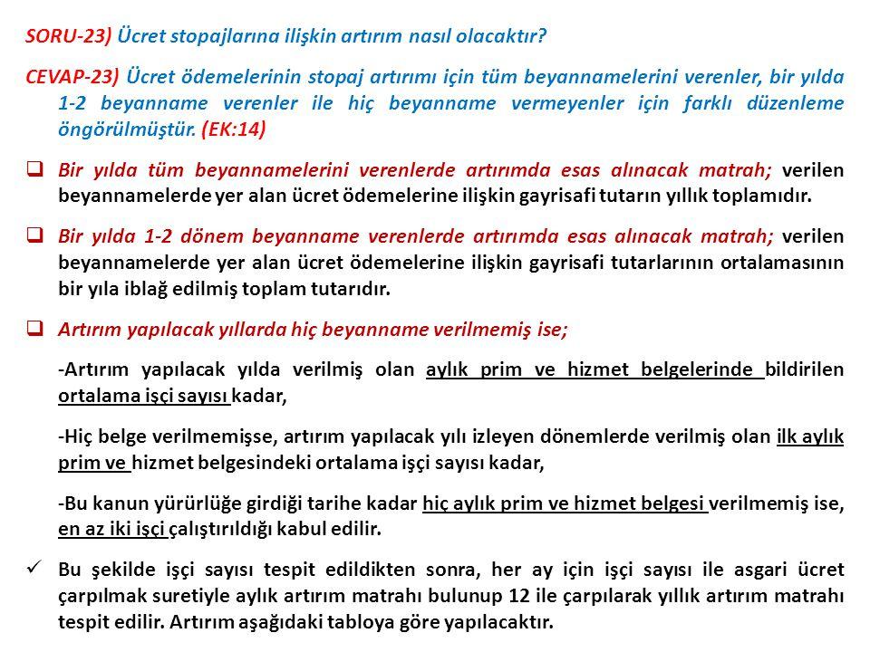 SORU-23) Ücret stopajlarına ilişkin artırım nasıl olacaktır? CEVAP-23) Ücret ödemelerinin stopaj artırımı için tüm beyannamelerini verenler, bir yılda