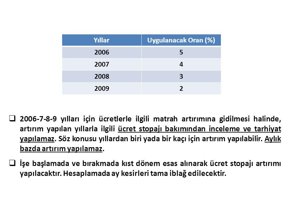  2006-7-8-9 yılları için ücretlerle ilgili matrah artırımına gidilmesi halinde, artırım yapılan yıllarla ilgili ücret stopajı bakımından inceleme ve
