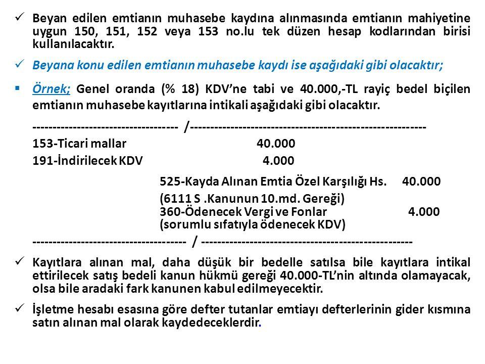  Beyan edilen emtianın muhasebe kaydına alınmasında emtianın mahiyetine uygun 150, 151, 152 veya 153 no.lu tek düzen hesap kodlarından birisi kullanı