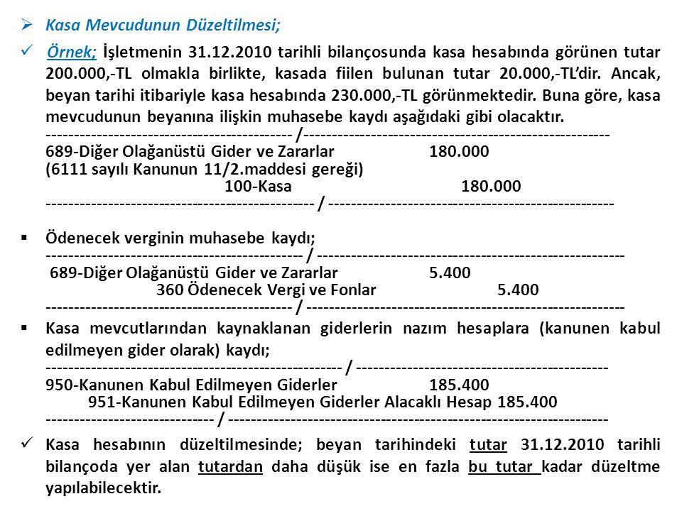  Kasa Mevcudunun Düzeltilmesi;  Örnek; İşletmenin 31.12.2010 tarihli bilançosunda kasa hesabında görünen tutar 200.000,-TL olmakla birlikte, kasada fiilen bulunan tutar 20.000,-TL'dir.