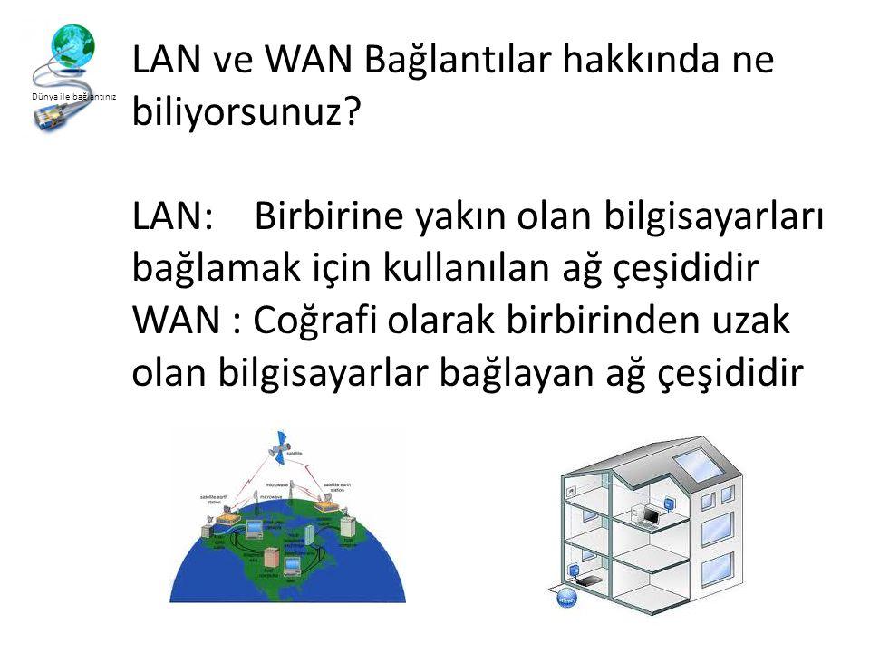 Dünya ile bağlantınız LAN ve WAN Bağlantılar hakkında ne biliyorsunuz.