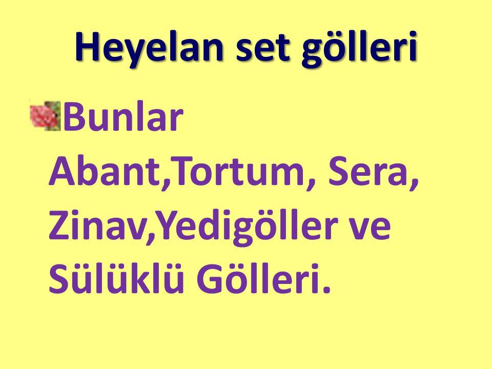 Heyelan set gölleri Bunlar Abant,Tortum, Sera, Zinav,Yedigöller ve Sülüklü Gölleri.
