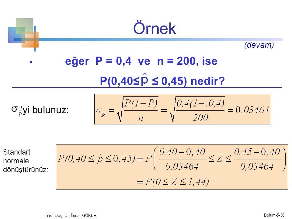 Örnek  eğer P = 0,4 ve n = 200, ise P(0,40≤ ≤ 0,45) nedir.