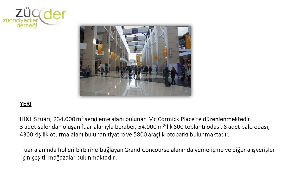 YERİ IH&HS fuarı, 234.000 m 2 sergileme alanı bulunan Mc Cormick Place'te düzenlenmektedir.
