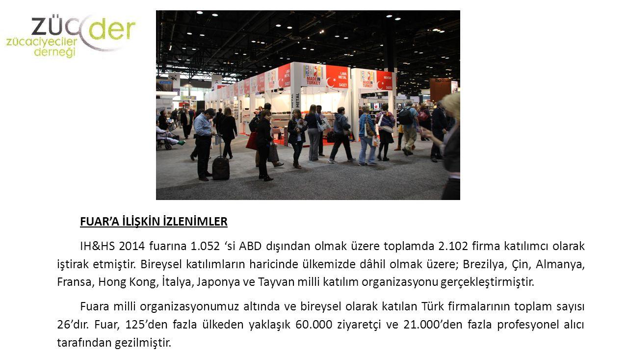 FUAR'A İLİŞKİN İZLENİMLER IH&HS 2014 fuarına 1.052 'si ABD dışından olmak üzere toplamda 2.102 firma katılımcı olarak iştirak etmiştir. Bireysel katıl