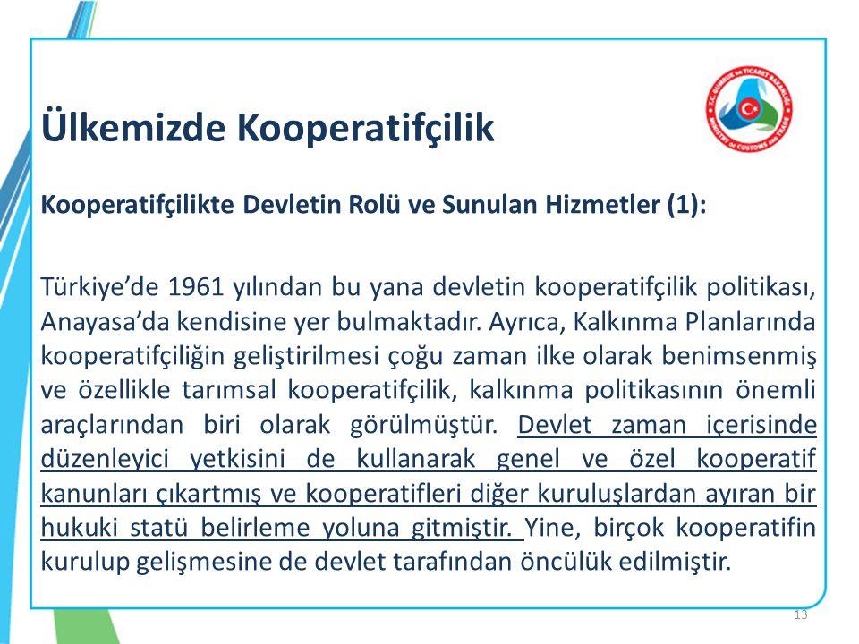 Kooperatifçilikte Devletin Rolü ve Sunulan Hizmetler (1): Türkiye'de 1961 yılından bu yana devletin kooperatifçilik politikası, Anayasa'da kendisine y