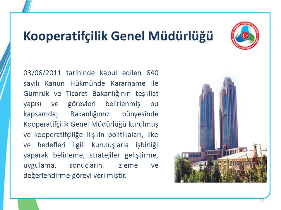 17 03/06/2011 tarihinde kabul edilen 640 sayılı Kanun Hükmünde Kararname ile Gümrük ve Ticaret Bakanlığının teşkilat yapısı ve görevleri belirlenmiş bu kapsamda; Bakanlığımız bünyesinde Kooperatifçilik Genel Müdürlüğü kurulmuş ve kooperatifçiliğe ilişkin politikaları, ilke ve hedefleri ilgili kuruluşlarla işbirliği yaparak belirleme, stratejiler geliştirme, uygulama, sonuçlarını izleme ve değerlendirme görevi verilmiştir.