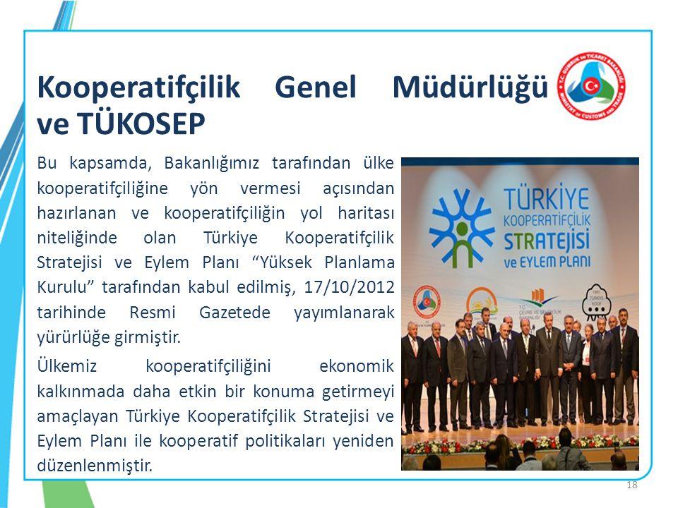 18 Bu kapsamda, Bakanlığımız tarafından ülke kooperatifçiliğine yön vermesi açısından hazırlanan ve kooperatifçiliğin yol haritası niteliğinde olan Tü