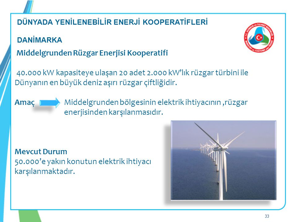 Middelgrunden Rüzgar Enerjisi Kooperatifi 40.000 kW kapasiteye ulaşan 20 adet 2.000 kW'lık rüzgar türbini ile Dünyanın en büyük deniz aşırı rüzgar çiftliğidir.