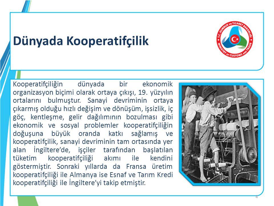 Dünyada Kooperatifçilik Kooperatifçiliğin dünyada bir ekonomik organizasyon biçimi olarak ortaya çıkışı, 19. yüzyılın ortalarını bulmuştur. Sanayi dev