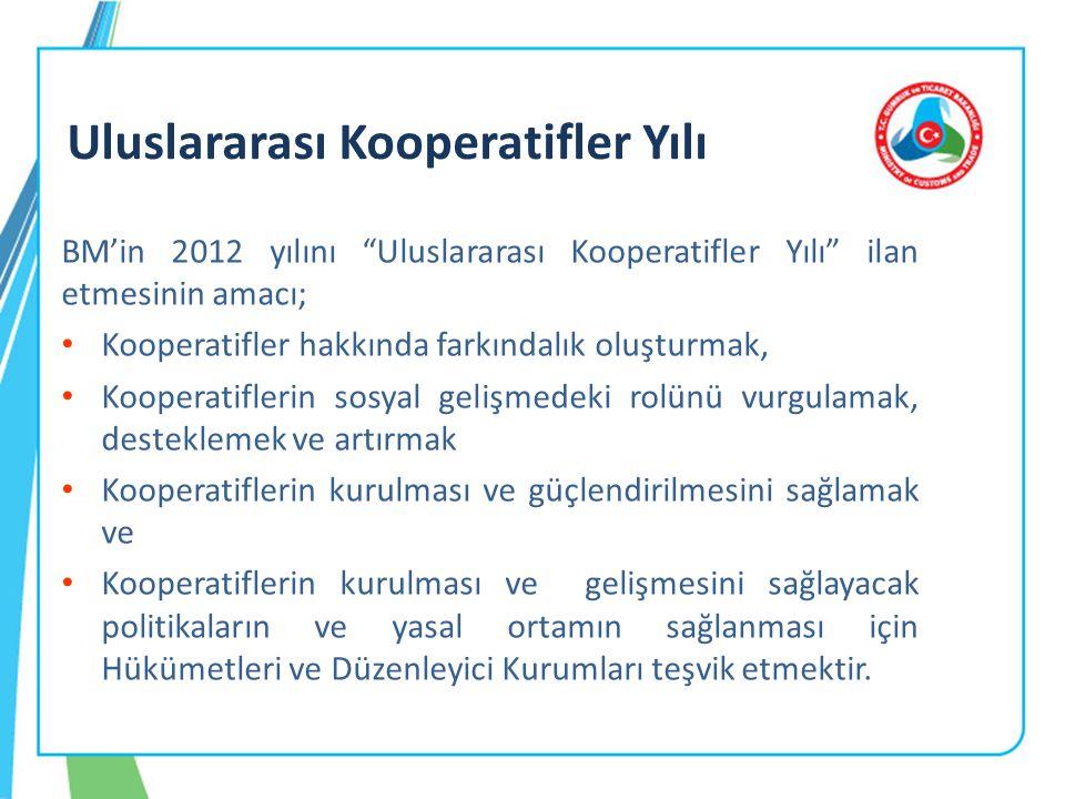 BM'in 2012 yılını Uluslararası Kooperatifler Yılı ilan etmesinin amacı; • Kooperatifler hakkında farkındalık oluşturmak, • Kooperatiflerin sosyal gelişmedeki rolünü vurgulamak, desteklemek ve artırmak • Kooperatiflerin kurulması ve güçlendirilmesini sağlamak ve • Kooperatiflerin kurulması ve gelişmesini sağlayacak politikaların ve yasal ortamın sağlanması için Hükümetleri ve Düzenleyici Kurumları teşvik etmektir.