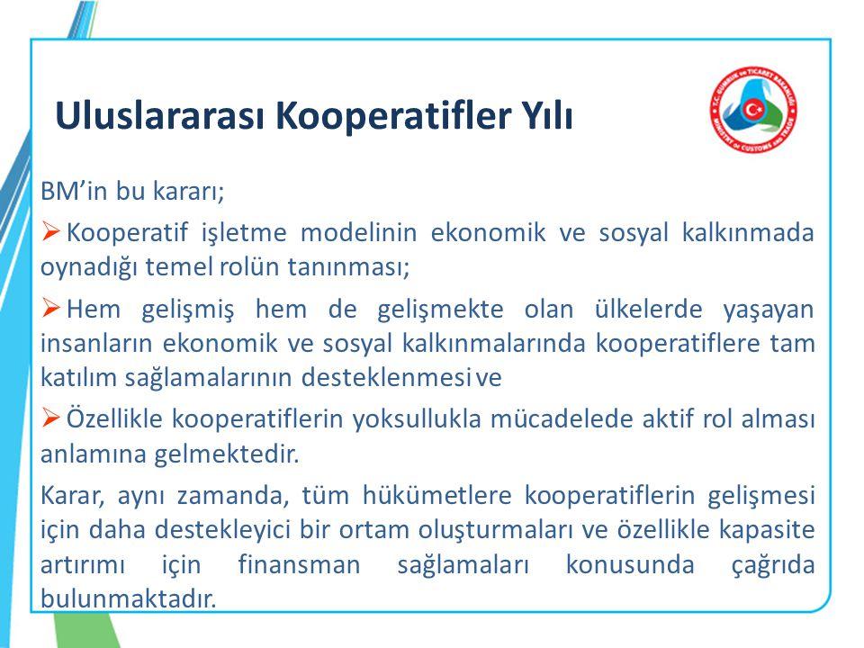 18 Bu kapsamda, Bakanlığımız tarafından ülke kooperatifçiliğine yön vermesi açısından hazırlanan ve kooperatifçiliğin yol haritası niteliğinde olan Türkiye Kooperatifçilik Stratejisi ve Eylem Planı Yüksek Planlama Kurulu tarafından kabul edilmiş, 17/10/2012 tarihinde Resmi Gazetede yayımlanarak yürürlüğe girmiştir.