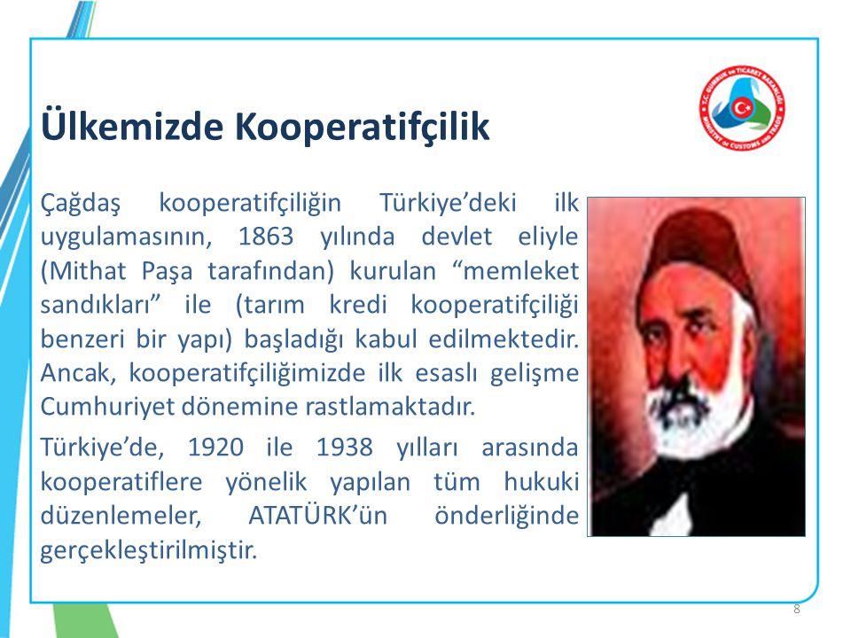 """Çağdaş kooperatifçiliğin Türkiye'deki ilk uygulamasının, 1863 yılında devlet eliyle (Mithat Paşa tarafından) kurulan """"memleket sandıkları"""" ile (tarım"""