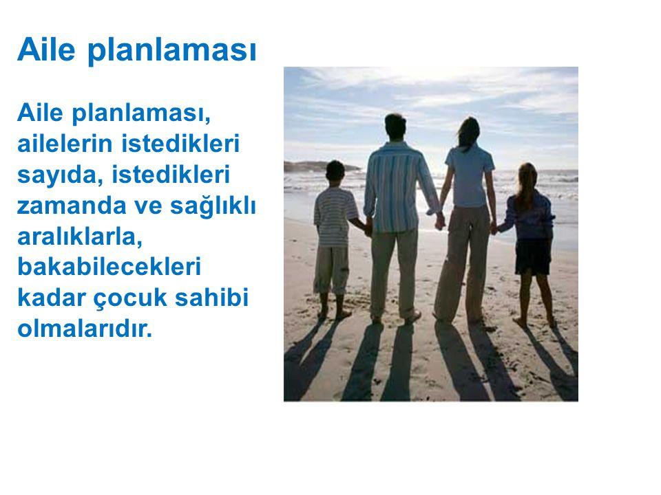 Aile planlaması Aile planlaması, ailelerin istedikleri sayıda, istedikleri zamanda ve sağlıklı aralıklarla, bakabilecekleri kadar çocuk sahibi olmalar