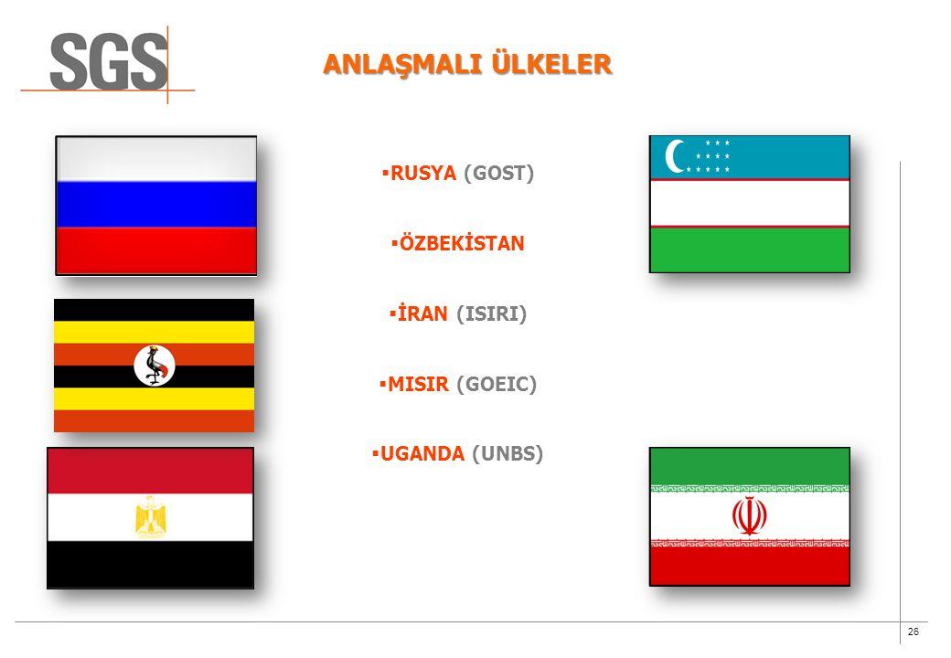 26  RUSYA (GOST)  ÖZBEKİSTAN  İRAN (ISIRI)  MISIR (GOEIC)  UGANDA (UNBS) ANLAŞMALI ÜLKELER