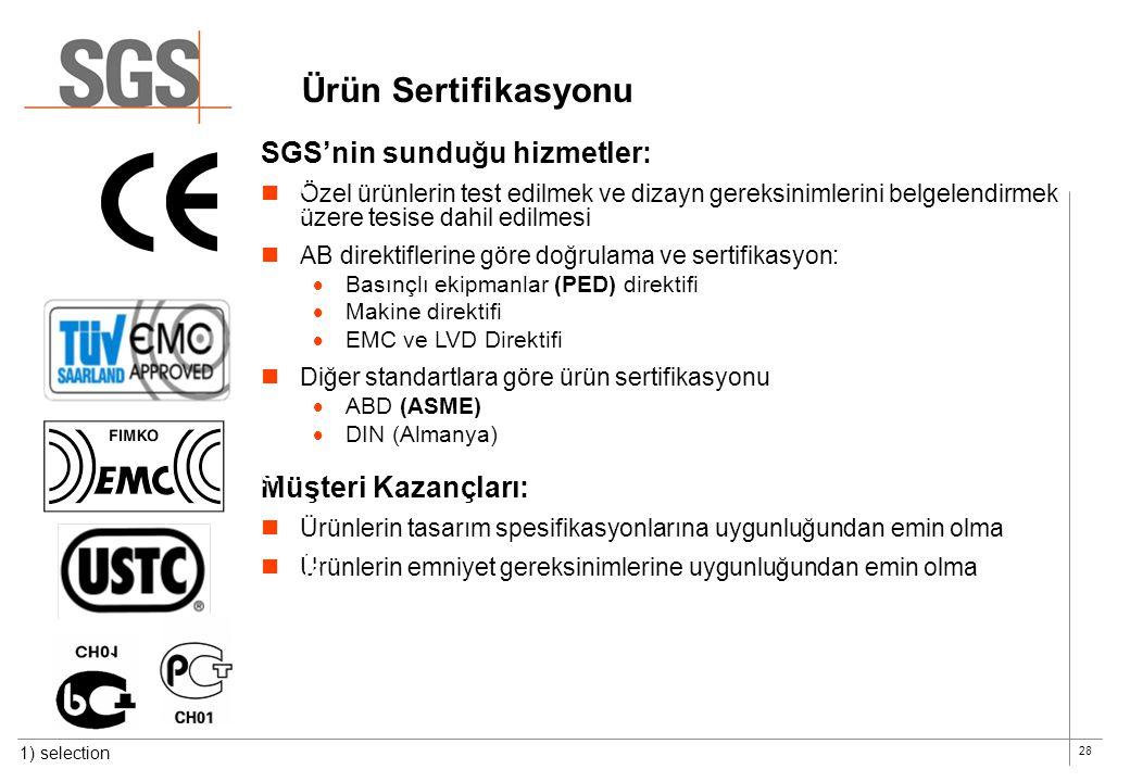 28 Ürün Sertifikasyonu SGS'nin sunduğu hizmetler:  Özel ürünlerin test edilmek ve dizayn gereksinimlerini belgelendirmek üzere tesise dahil edilmesi