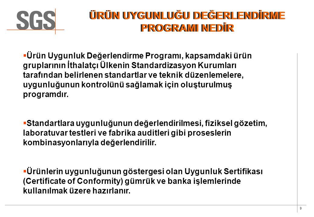 9  Ürün Uygunluk Değerlendirme Programı, kapsamdaki ürün gruplarının İthalatçı Ülkenin Standardizasyon Kurumları tarafından belirlenen standartlar ve