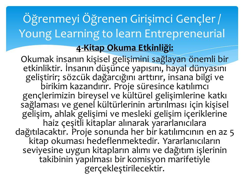 Öğrenmeyi Öğrenen Girişimci Gençler / Young Learning to learn Entrepreneurial 4-Kitap Okuma Etkinliği: Okumak insanın kişisel gelişimini sağlayan önem