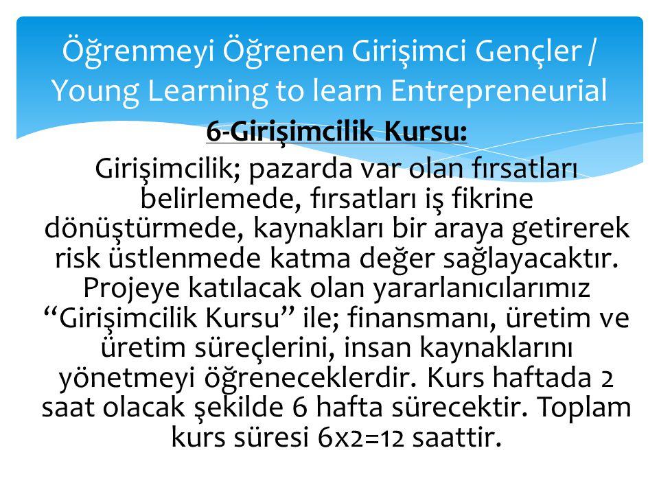 Öğrenmeyi Öğrenen Girişimci Gençler / Young Learning to learn Entrepreneurial 6-Girişimcilik Kursu: Girişimcilik; pazarda var olan fırsatları belirlem