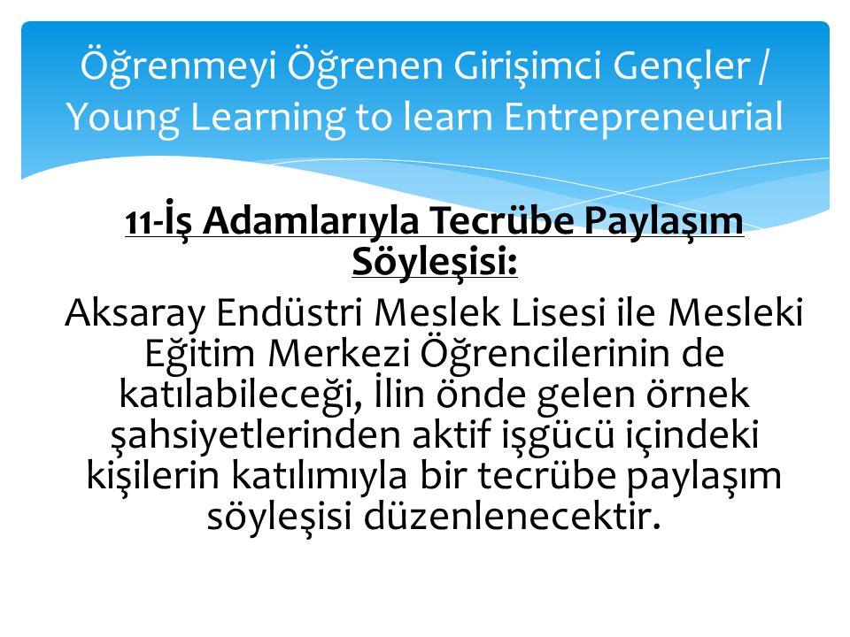 Öğrenmeyi Öğrenen Girişimci Gençler / Young Learning to learn Entrepreneurial 11-İş Adamlarıyla Tecrübe Paylaşım Söyleşisi: Aksaray Endüstri Meslek Li