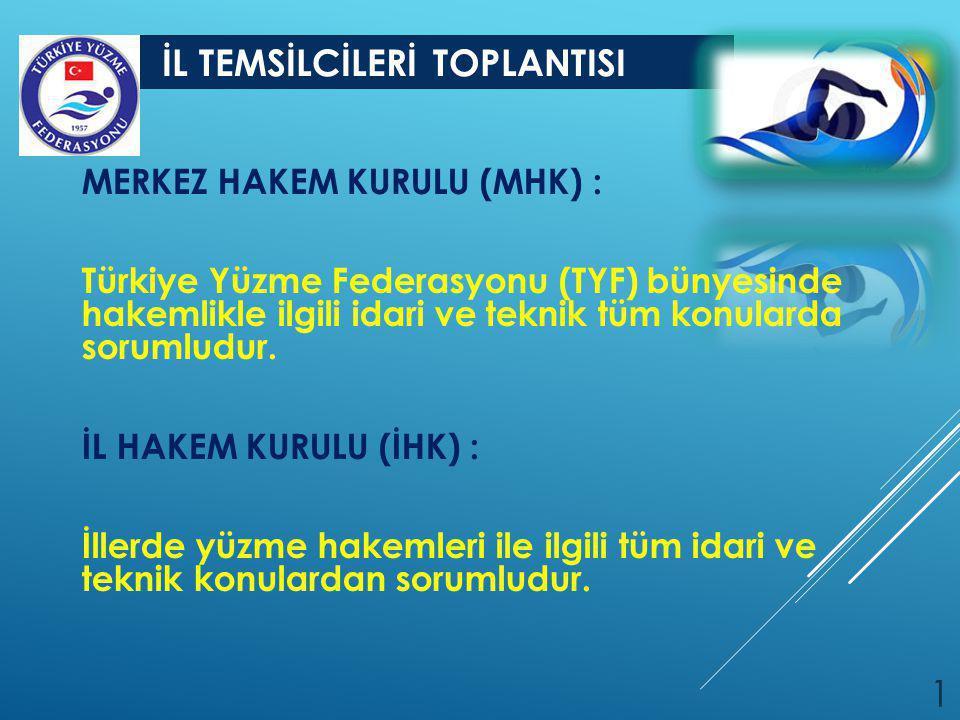 İL TEMSİLCİLERİ TOPLANTISI 1 MERKEZ HAKEM KURULU (MHK) : Türkiye Yüzme Federasyonu (TYF) bünyesinde hakemlikle ilgili idari ve teknik tüm konularda so