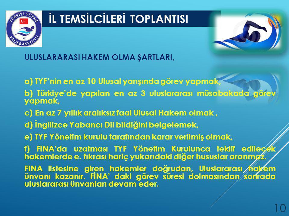 İL TEMSİLCİLERİ TOPLANTISI 10 ULUSLARARASI HAKEM OLMA ŞARTLARI, a) TYF'nin en az 10 Ulusal yarışında görev yapmak, b) Türkiye'de yapılan en az 3 ulusl