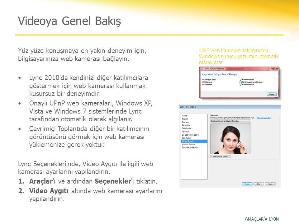 Videoya Genel Bakış Yüz yüze konuşmaya en yakın deneyim için, bilgisayarınıza web kamerası bağlayın. •Lync 2010'da kendinizi diğer katılımcılara göste