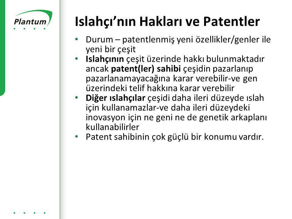 • Durum – patentlenmiş yeni özellikler/genler ile yeni bir çeşit • Islahçının çeşit üzerinde hakkı bulunmaktadır ancak patent(ler) sahibi çeşidin pazarlanıp pazarlanamayacağına karar verebilir-ve gen üzerindeki telif hakkına karar verebilir • Diğer ıslahçılar çeşidi daha ileri düzeyde ıslah için kullanamazlar-ve daha ileri düzeydeki inovasyon için ne geni ne de genetik arkaplanı kullanabilirler • Patent sahibinin çok güçlü bir konumu vardır.