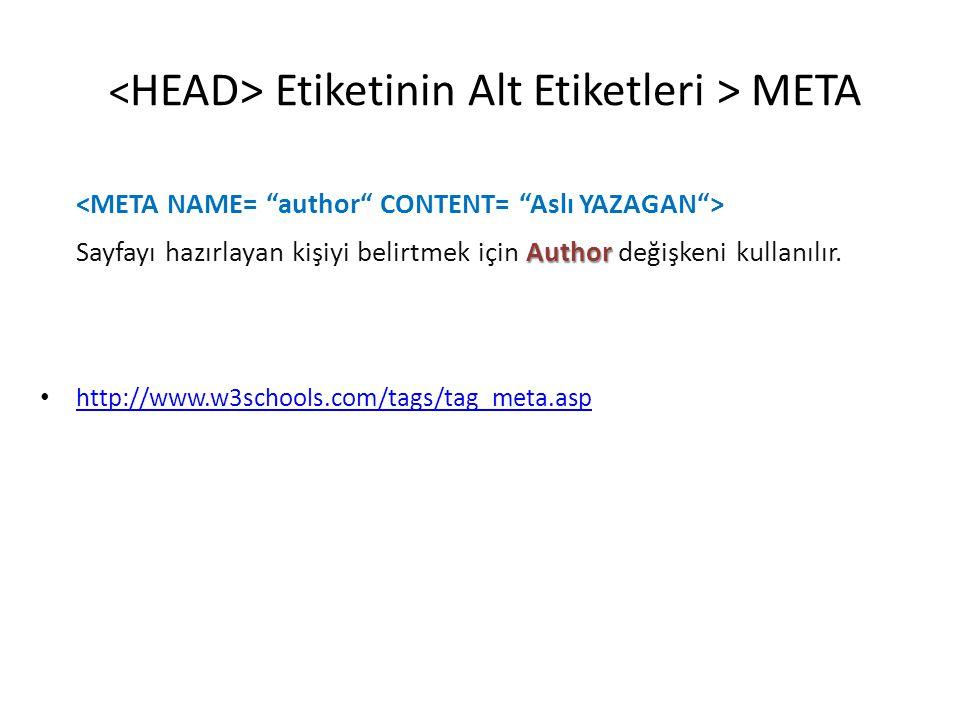 Etiketinin Alt Etiketleri > META Author Sayfayı hazırlayan kişiyi belirtmek için Author değişkeni kullanılır. • http://www.w3schools.com/tags/tag_meta